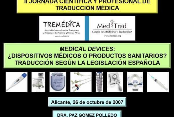 II Jornada Científica y Profesional de Tremédica en Alicante_2007_English